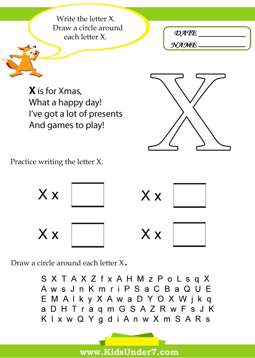 Kids Under 7: Letter X Worksheets