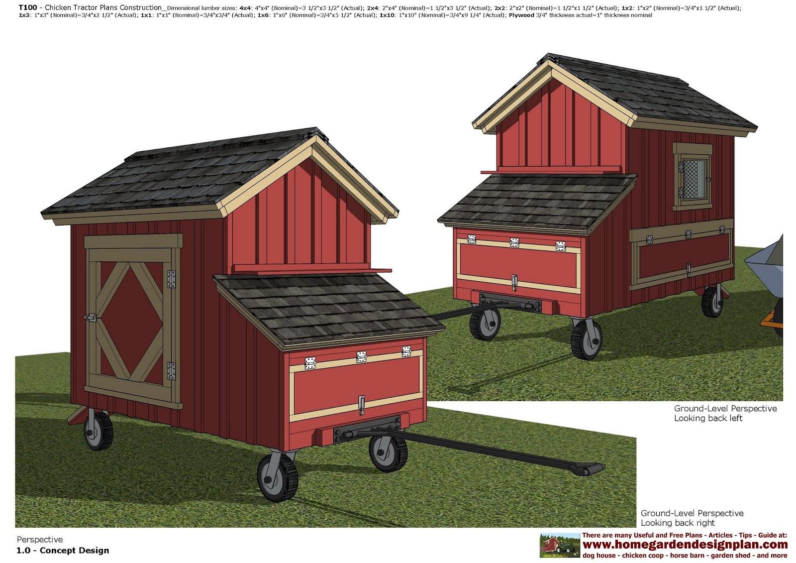 garden plans: T100 - Chicken Tractor Plans - Chicken Trailer Plans ...