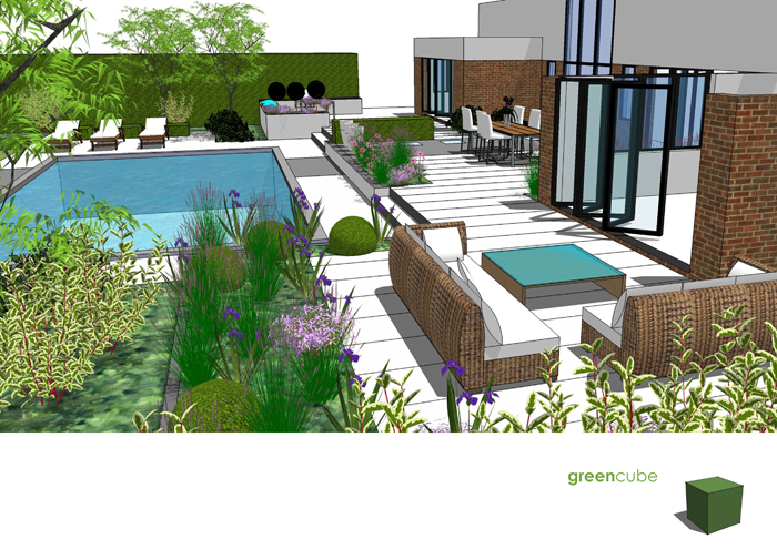 Greencube garden and landscape design uk garden design for Decor around swimming pool