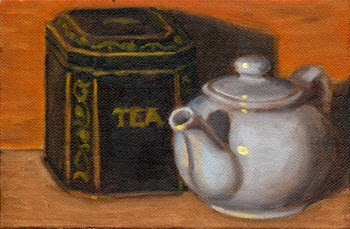 Oil painting of teapot in front of a black tea caddy with gold-coloured patterns and the word tea printed on the front.