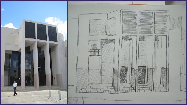 Photograph and Sketch of Eric Williams Medical Sciences Complex (EWMSC), Mt Hope