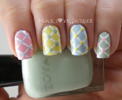 Pastel, Easter, Spring, Nail Art, Zoya, Color Club, Barielle, Stripe Rite, Pink, Yellow, Blue Green, Banana Drop, Blu, Neely