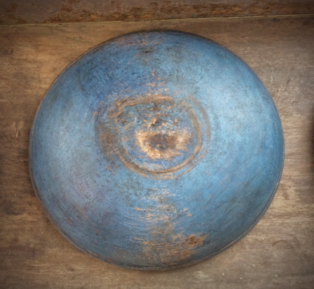 Vintage Wood Bowl, New Blue Paint