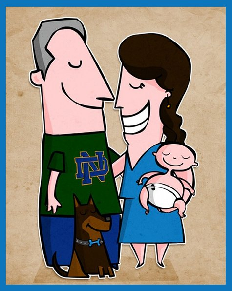 Custom Cartoon Family Portrait from Cute Cartoon Portraits