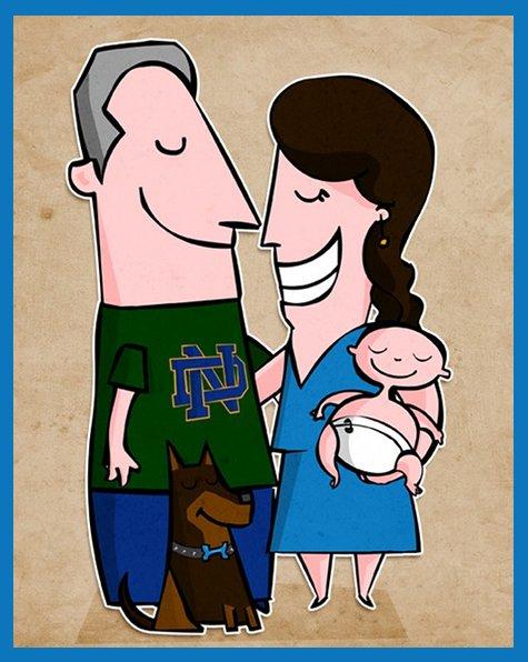 Custom Cartoon Family Portrait from Cute Cartoon Portraits