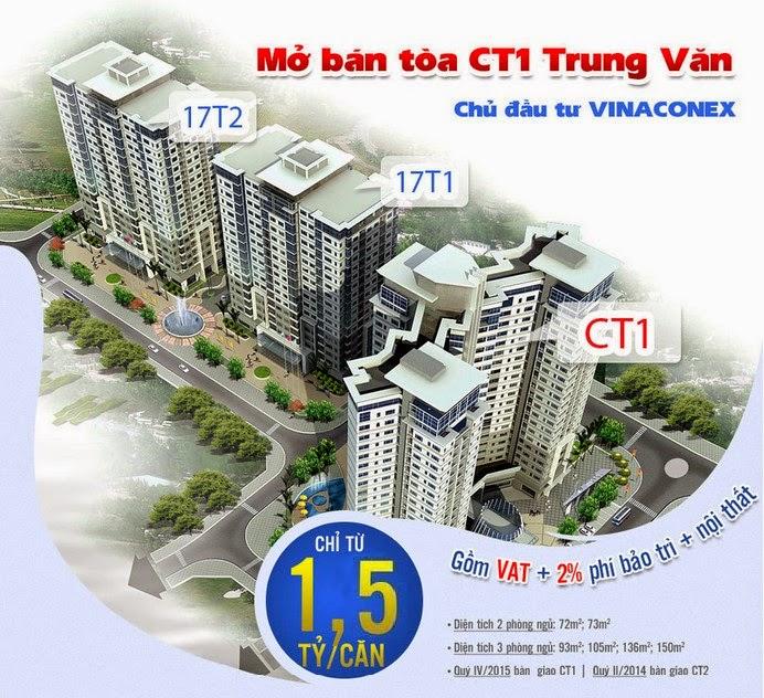 Bán chung cư CT1 Trung Văn giá tốt 21 triệu/m2 và từ 1.5 tỷ/căn