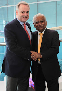 Etihad Airways President and Chief Executive Officer, James Hogan, and the Chairman of Jet Airways, Naresh Goyal