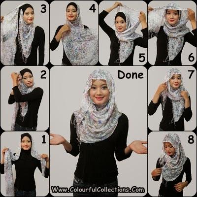 cara pakai shawl 7