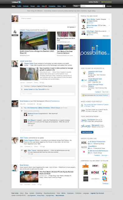 LinkedIn New Homepage Design