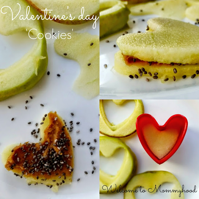 Healthy snacks for kids: Heart 'Cookies' for Valentine's Day {Welcome to Mommyhood} #montessori, #healthysnacksforkids, #Valentine'sDay