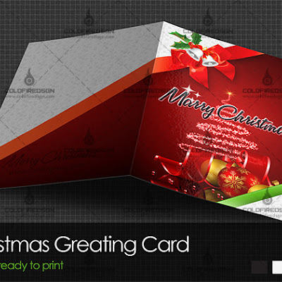 Ready to Print Christmas Greeting Card PSD Template Mockup