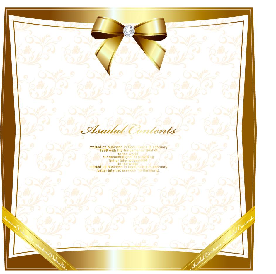 豪華な金のリボン飾りフレーム gorgeous gold lace border vector イラスト素材1