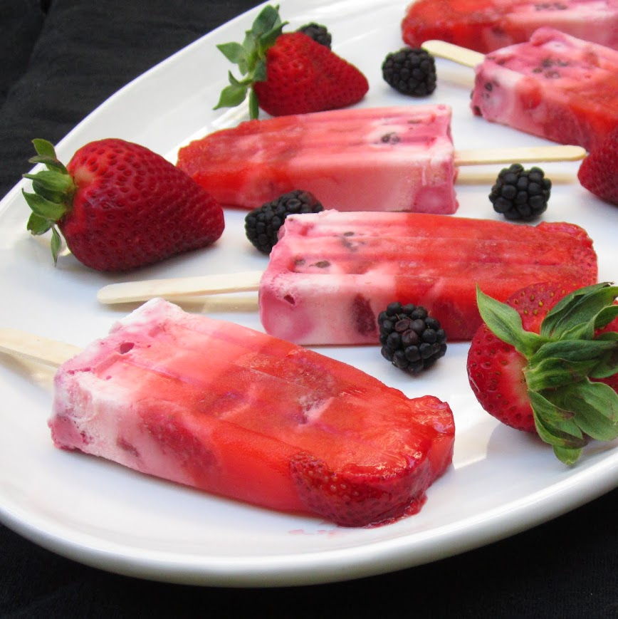 Berries and whipped cream make a perfect summertime popsicle