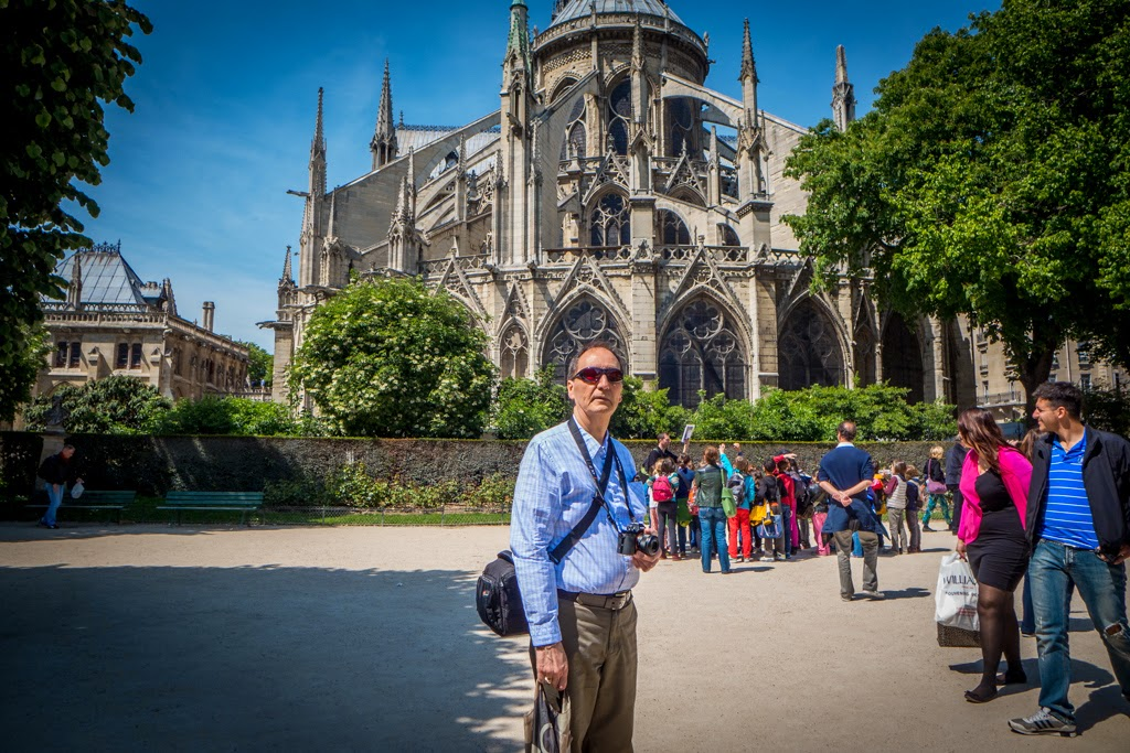 Paris France Notre Dame garden with Pedro