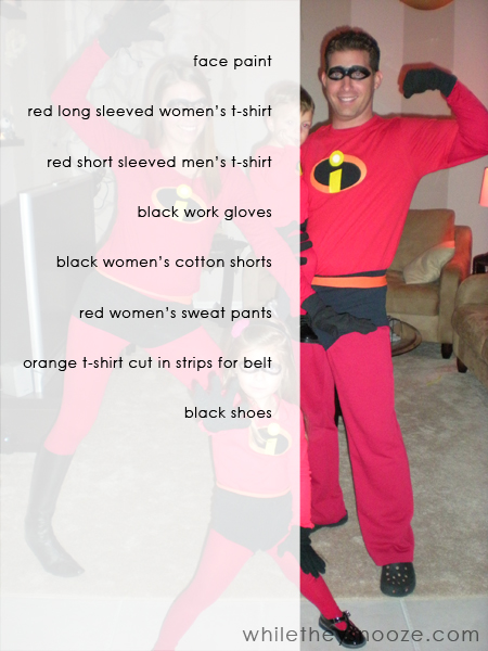 Youu0027ll notice Mr. Incredible is wearing a lot of womenu0027s clothing ). I could not for the life of me find menu0027s sweat pants (because we all know he wasnu0027t ...  sc 1 st  While They Snooze & While They Snooze: How to Make The Incredibles Halloween Costumes + ...