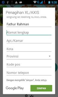 Formulir identitas penagihan XL/AXIS di Google Play Store Android