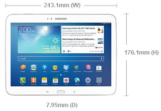 Dimensi Samsung Galaxy Tab 3 - 10.1 inch