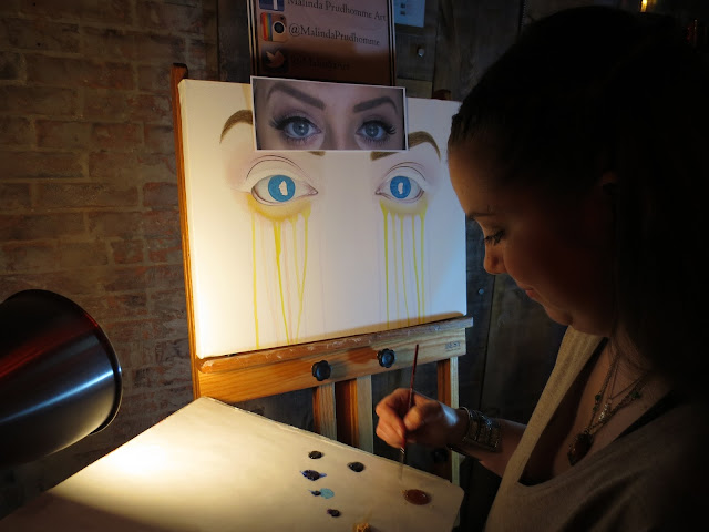 nightowl, nightowl toronto, toronto, toronto art, nuit blanche, live painting, painting, paint, art, artist, toronto portrait artist, portrait artist, malinda prudhomme, exhibition, eye painting, blue eyes, original artwork, realism