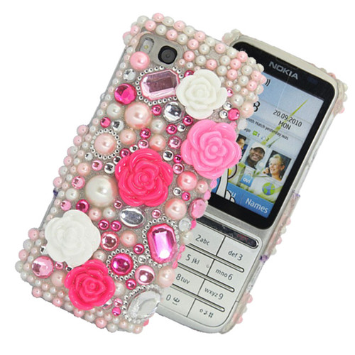 HOT PINK PRINCESS DIAMOND BLING PEARL FLOWER PLASTIC FOR NOKIA C3-01 CASE COVER