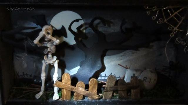 diorama cementerio halloween
