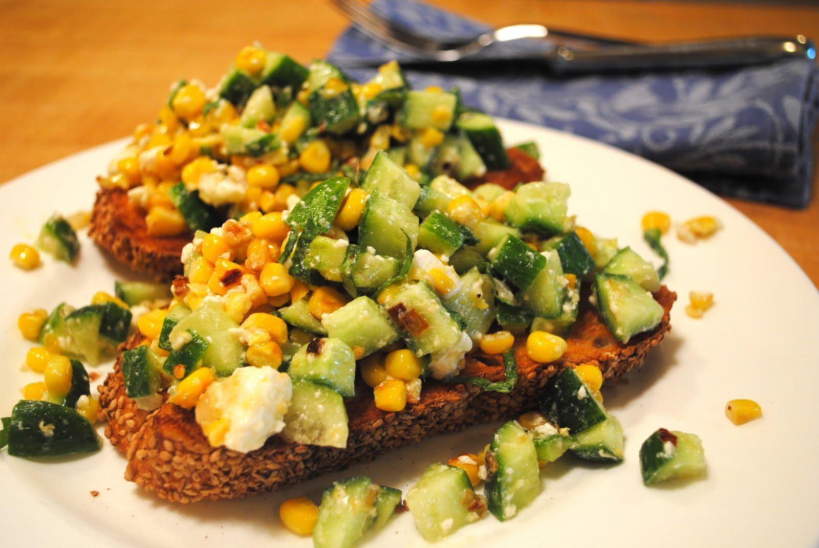 Dorm Room Dinner: Grilled Corn, Cucumber and Feta Salad