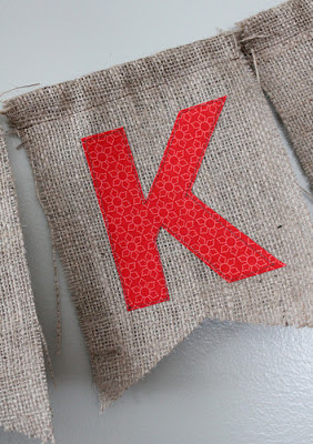 applique letters on burlap