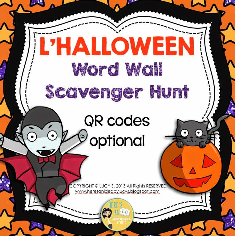 French Halloween Word Wall & Scavenger Hunt