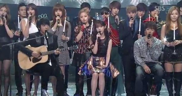 IU, Younghwa & Kikwang sing Winter Child on Inkigayo ...