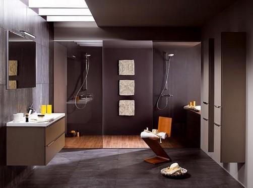 Pisos Para Baño Modernos:Cuarto de baño, que incluye dosduchas con pisos de madera y pared en