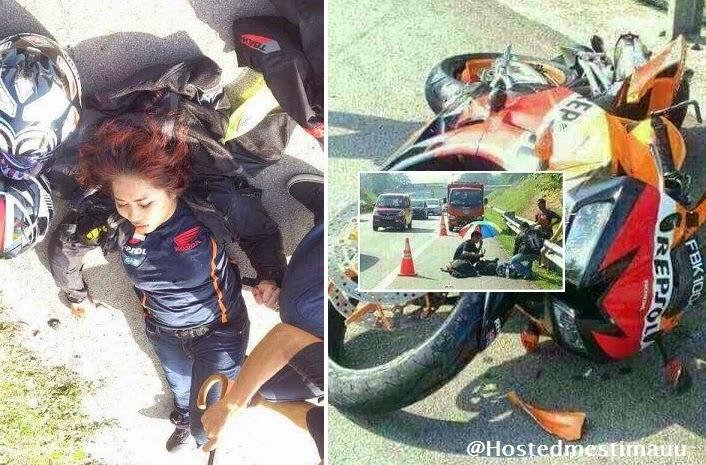4 Gambar Wanita cedera motosikal kuasa tinggi nya terbabas pagi tadi