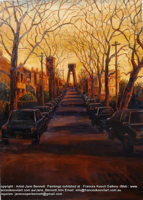 "oil painting of Anzac Bridge at night ""Pyrmont streetscape : Anzac Bridge from the corner of John, Pyrmont and Point streets"" 1994 oil painting on canvas paper 100 x 75cm by  Jane Bennett,Artist"
