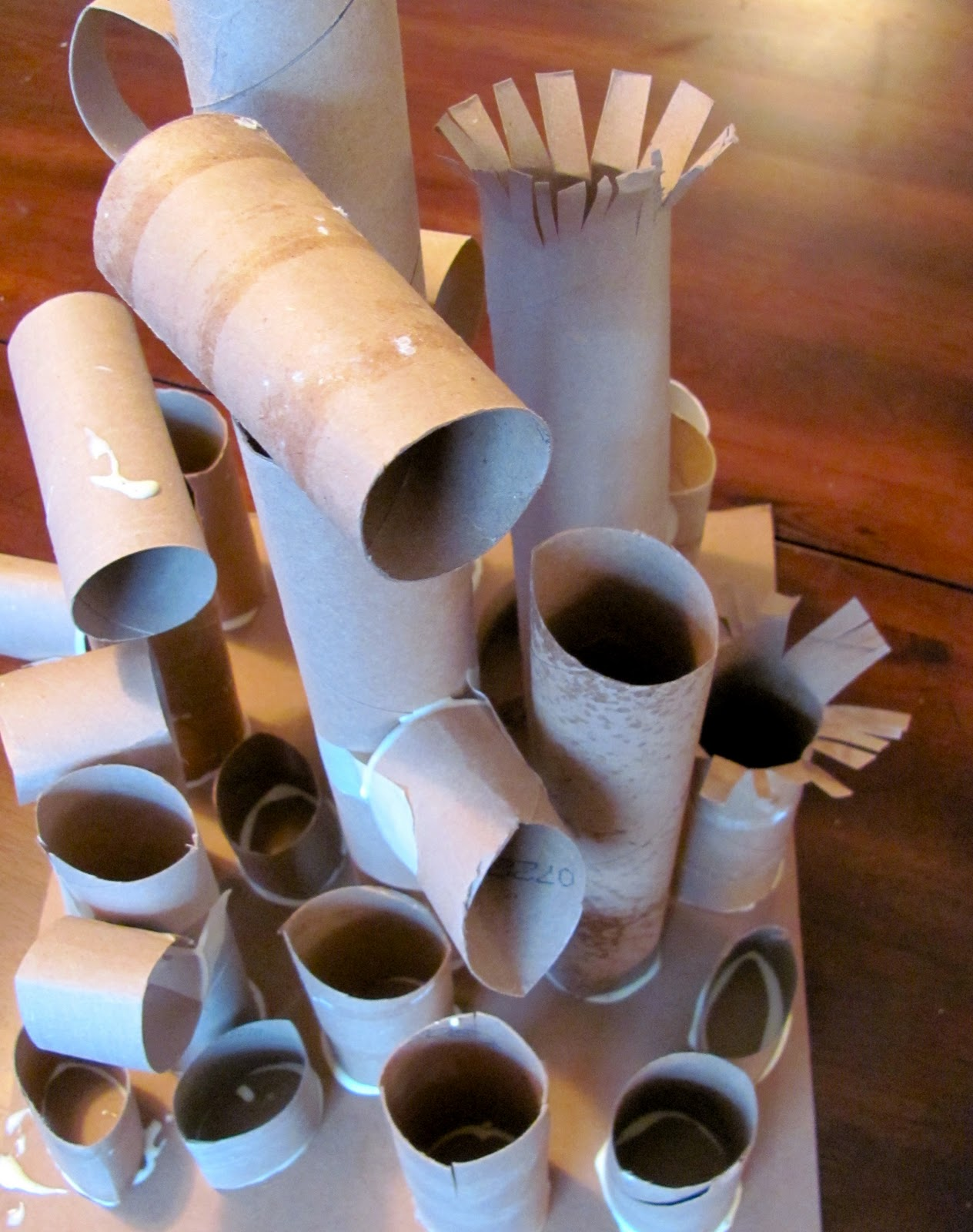 The chocolate muffin tree recycled paper tube sculpture