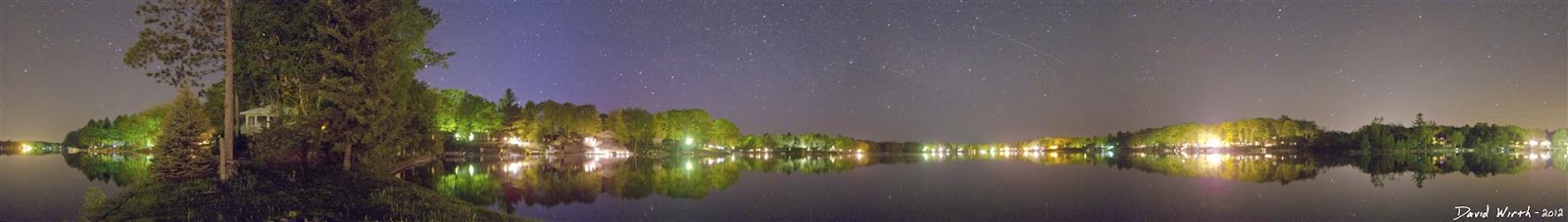 star lake panorama, reflection at night