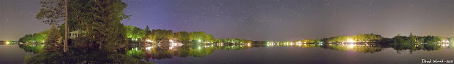 panorama lake water night stars exposure water