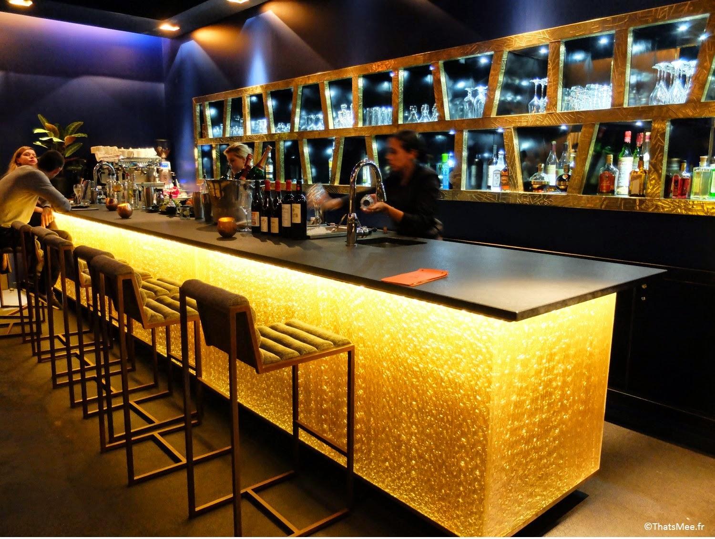 bar péruvien 1K, bonnes adresses chic lounge Paris, cités d'or Paris déco bleu nuit et doré Paris 3ème ex Murano