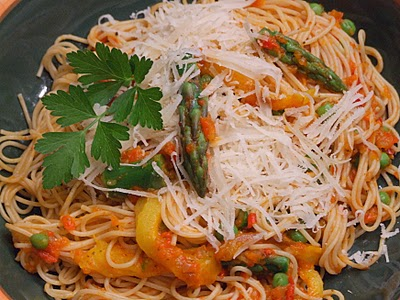 Angel Hair Pasta with Spring Vegetable and Red Pepper Tomato Sauce ...