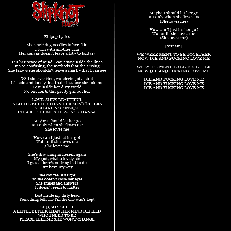 Slipknot devil in i lyrics