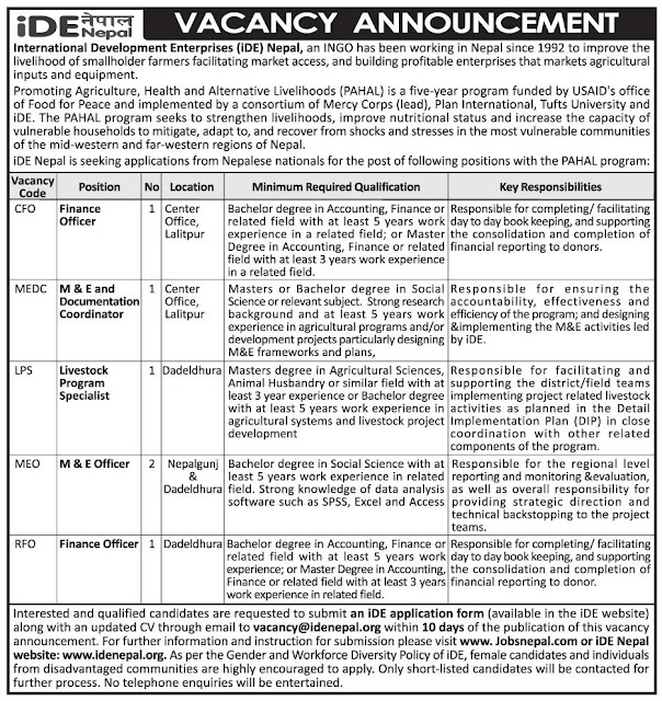 VACANCY FOR IDE NEPAL