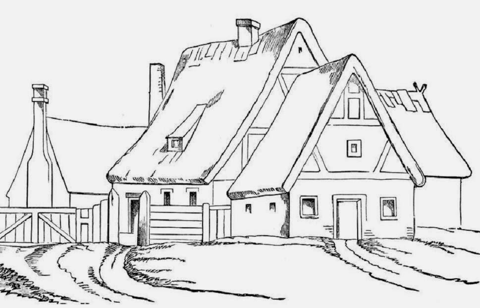 Big House Coloring Drawing Free wallpaper