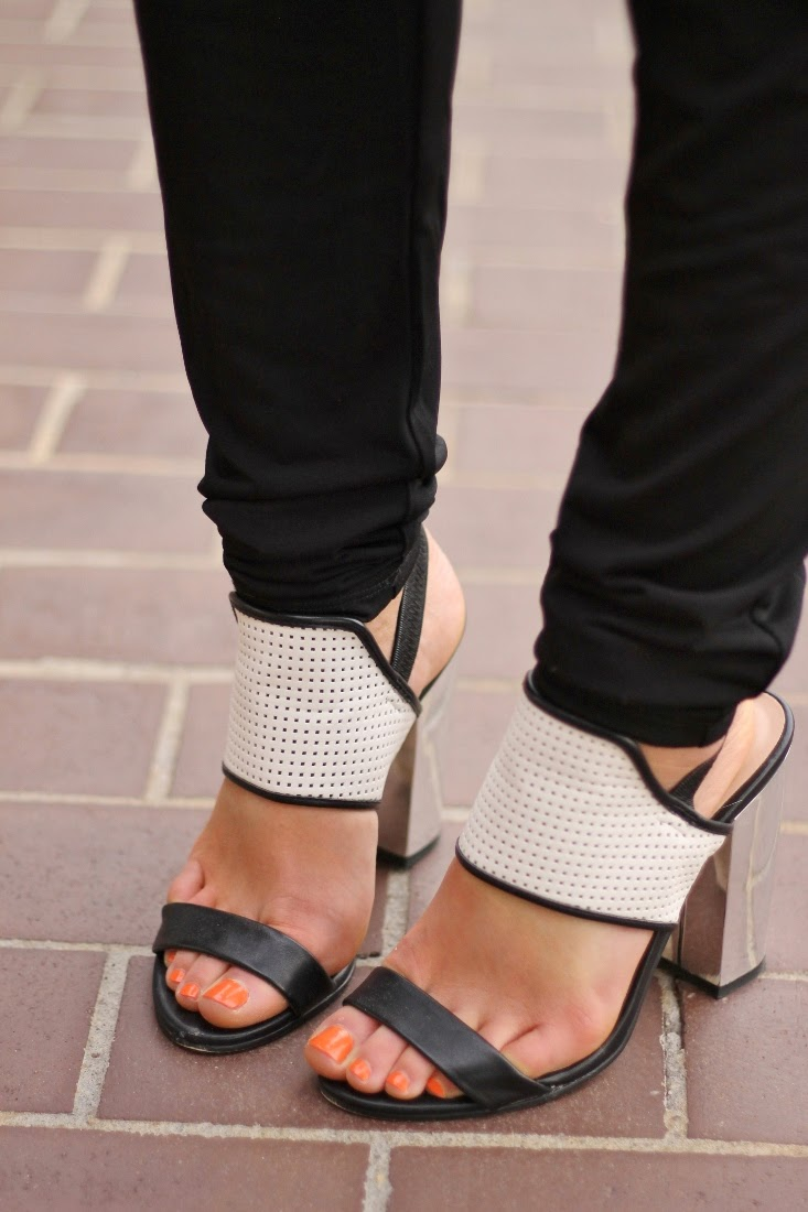 Mirrored Block Heel Sandal