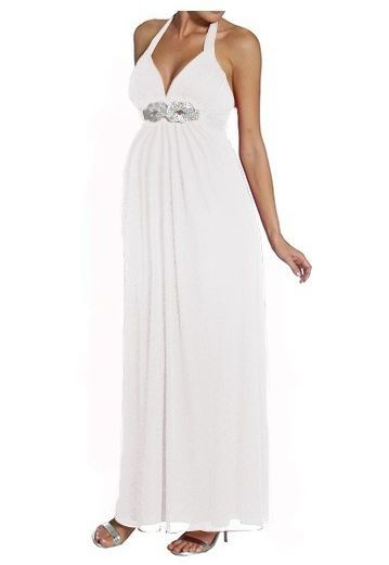 Chiffon Strapless V-neck Halter Empire A-line Long Maternity Wedding Dress