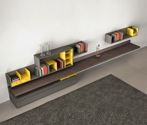 minimalist shelving systems design by fortepiano of molteni & c