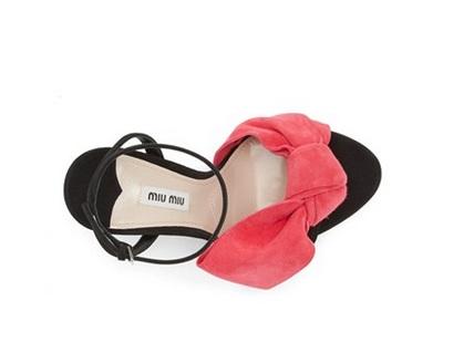 Miu Miu Black sandals with pink bow