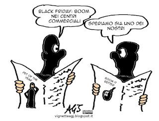Black Friday, isis, consumismo, satira vignetta