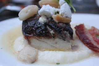 Seared sea bass at Aragosta, Boston, Mass.