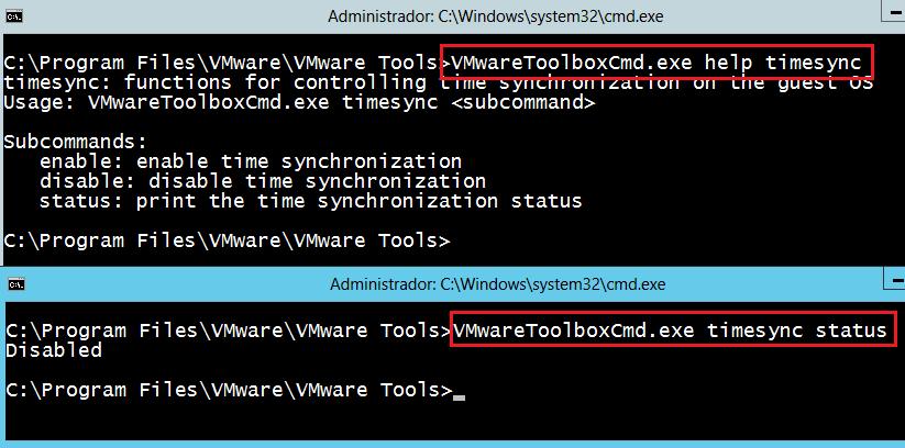 VMWare Sincronización de hora de la VM Windows