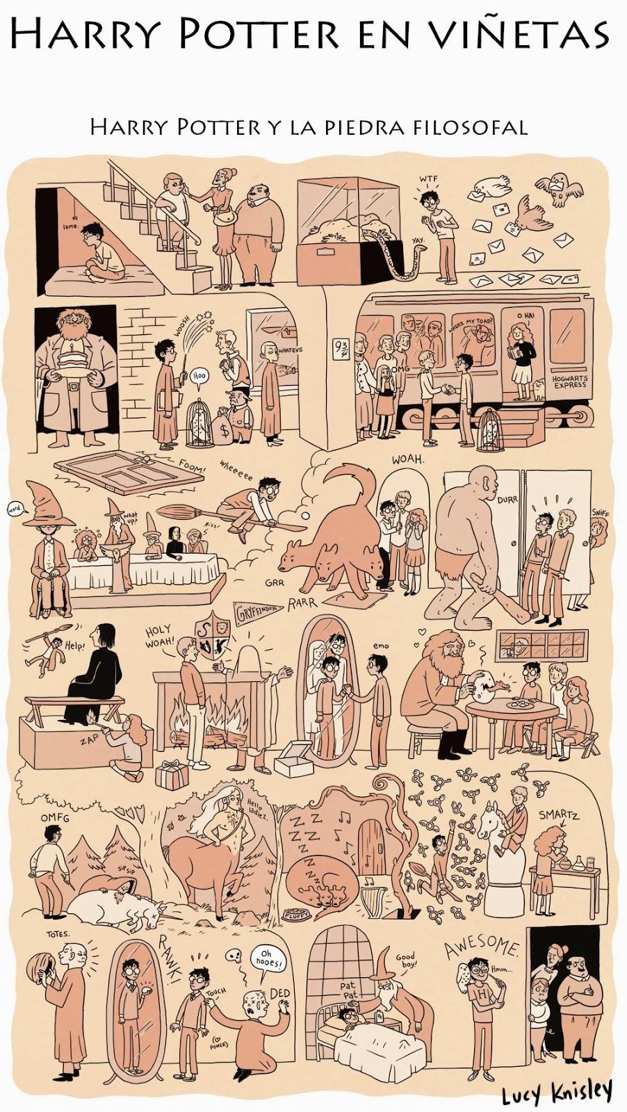 viñeta resumen - Harry Potter y la piedra filosofal