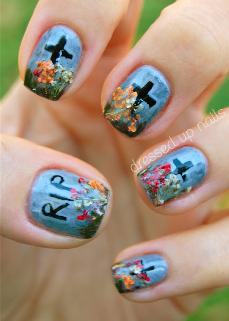 Gravestone Halloween nail art
