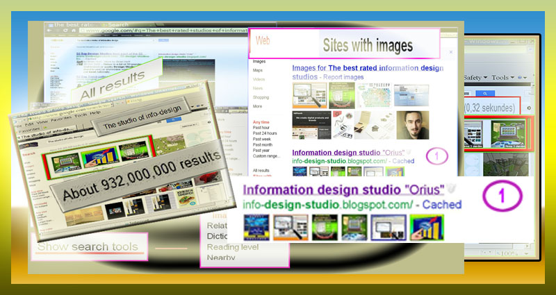 Screenshots showing results of info design studio