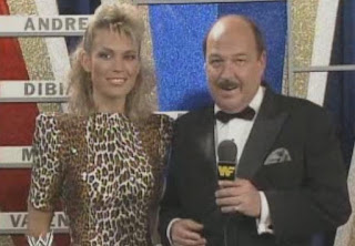 WWF / WWE WRESTLEMANIA 4: Mean Gene Okerlund w/ Wheel of Fortune star Vanna White